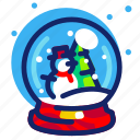 christmas, decoration, globe, snow, snowman, tree, xmas