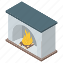 burning wood, chimney, fireplace, furnace, hearth icon