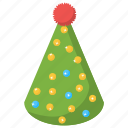 birthday cap, birthday cone, christmas hat, party cap, party hat icon