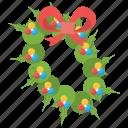 christmas bouquet, christmas circlet, christmas garland, christmas loop, christmas wreath icon