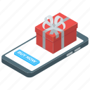 birthday gift, christmas gift, gift, gift box, online present icon