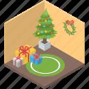 christmas celebration, christmas gifts, christmas room, christmas tree, room ornaments