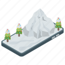 hill station, mountain peaks, snowy alps, snowy mountains, snowy trees icon