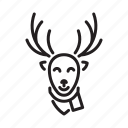 christmas, deer, head, reindeer icon