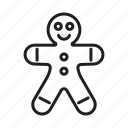 christmas, ginger, gingerbread, gingerbread man icon