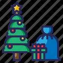 xmas, santa, christmas, tree, gift