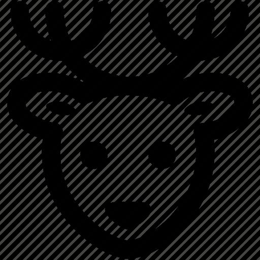 christmas, deer, head, holiday, reindeer, rudolph, xmas icon