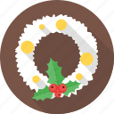 christmas, christmas wreath, decoration, snow, snowflake icon