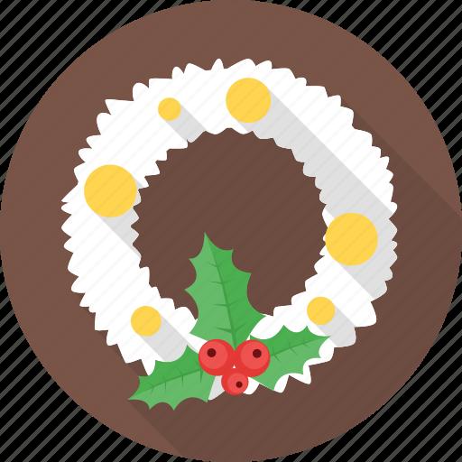 christmas, christmas wreath, decoration, snow, snowflake icon