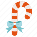 candy, cane, christmas, decoration, ribbon, stick icon