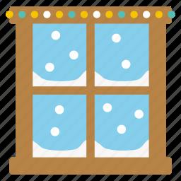 christmas, cold, decoration, santa, snow, window, x-mas icon