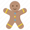 christmas, cookie, food, gingerbread, man, snow, winter icon