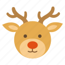 christmas, deer, nose, red, reindeer, santa, winter icon