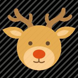 christmas, deer, nose, red, reindeer, santa, winter icon