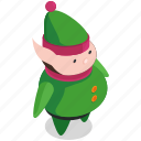christmas, costume, elf, helper, man icon