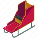 christmas, claus, santa, sleigh, transportation icon