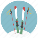 christmas, holiday, mountain, skiing, skis, winter, xmas icon