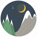 christmas, forest, moon, nature, night, star, trees icon