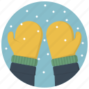 glove, gloves, mitten, mittens, snow, snowflakes, winter icon