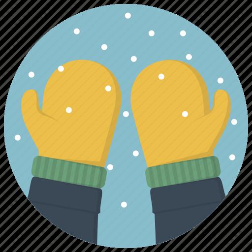 glove, gloves, mitten, mittens, snow, snowflakes, winter icon