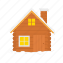 chimney, house, log cabin, log home, winter icon
