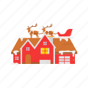 christmas, house, reindeer, santa claus icon