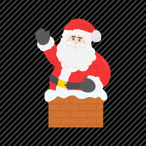 chimney, christmas, santa, santa claus icon