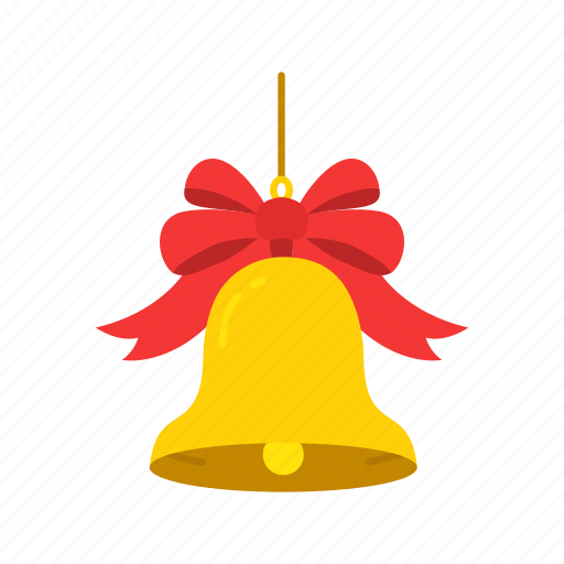 bell, christmas bell, decoration, ribbon icon