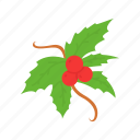 christmas, decoration, leaf, mistletoe icon