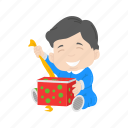 boy, christmas, gift, kid, presents icon