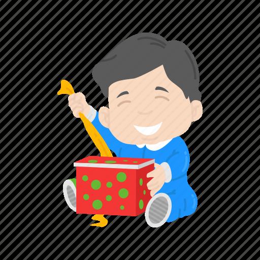 boy, christmas, gift, kid, presents icon