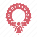 christmas, christmas decoration, decoration, holiday, wreath, wreath icon, xmas icon