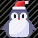 penguin, xmas, christmas, hat, bird, winter, animal
