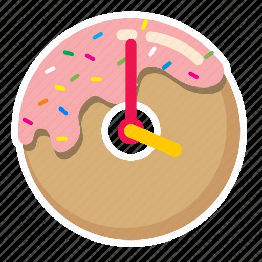 clock, desert, donut, sprinkles, sweet, time icon