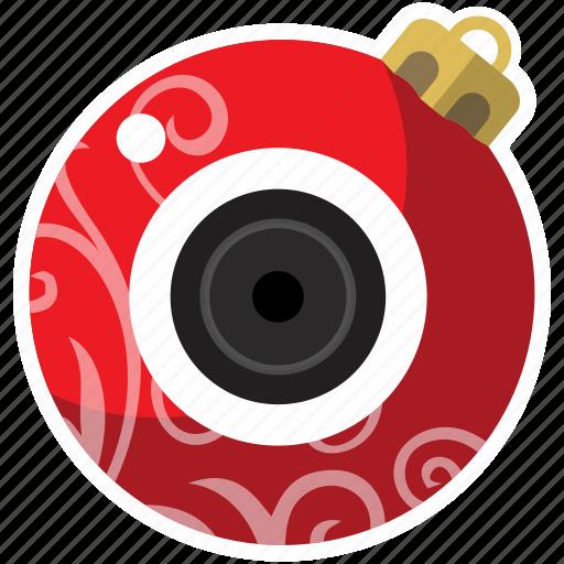 ball, cam, camera, christmas ball, red, xmas icon