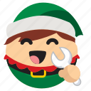christmas, drawf, elf, fixer, maintenance, santa icon