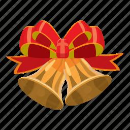 bell, bow, cartoon, celebration, christmas, shiny, xmas icon