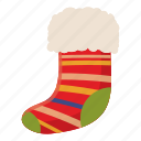 cartoon, celebration, christmas, decoration, holiday, sock, xmas icon