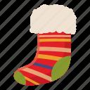 cartoon, celebration, christmas, decoration, holiday, sock, xmas icon