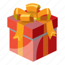 birthday, box, cartoon, celebration, decoration, gift, ribbon icon