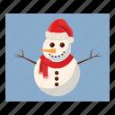 cartoon, christmas, hat, snow, snowman, winter, xmas