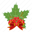 berry, bow, cartoon, christmas, greeting, holly, realistic