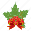 berry, bow, cartoon, christmas, greeting, holly, realistic icon