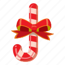 candy, cane, cartoon, christmas, food, stick, striped icon