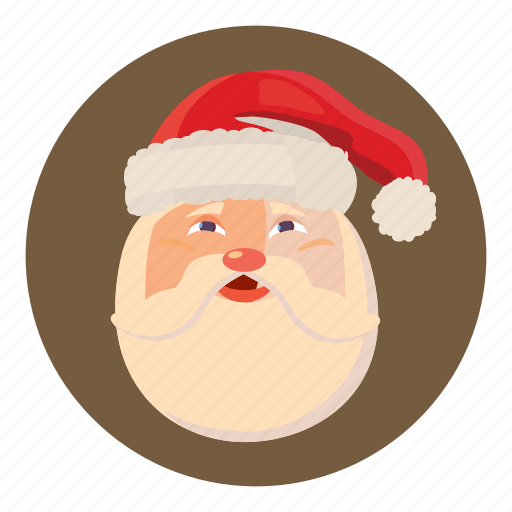 cartoon, christmas, claus, face, funny, happy, santa icon