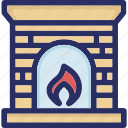 christmas, fire, fireplace, flame icon