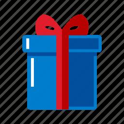 blue, box, christmas, gift icon