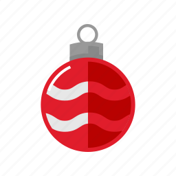 christmas, decoration, red, sphere icon