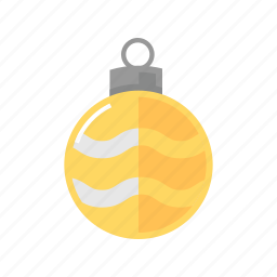 christmas, decoration, sphere, yelllow icon