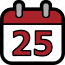 calendar, christmas, christmas day, day, december, december 25 icon